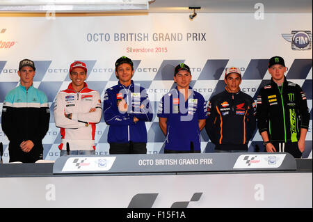 Silverstone, Northants, UK. 27th Aug, 2015. MotoGP. OCTO British Grand Prix. Danny Kent, Andrea Iannone, Valentino - Stock Photo