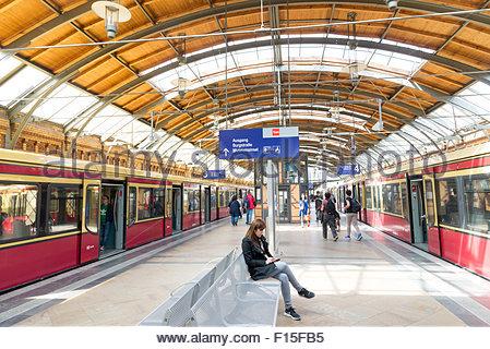 Hackescher Markt S-Bahn station, Berlin, Germany - Stock Photo