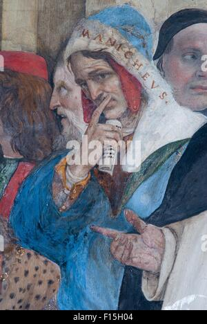 A detail of the fresco of Filippino Lippi in the Carafa Chapel in the church of Santa Maria sopra Minerva, Rome, - Stock Photo