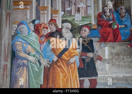 A detail of the fresco of Filippino Lippi in the Carafa Chapel in the church of Santa Maria sopra Minerva, Rome, - Stock Photo