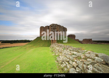 The lovely ruin of Duffus Castle, Elgin, Moray, Scotland an early morning when the overcast is getting closer - Stock Photo