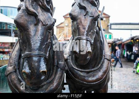 Horse sculptures in Camden Stables Market, London, UK - Stock Photo