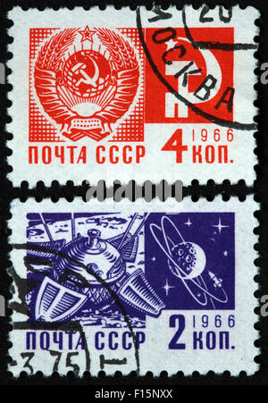 4 and 2 Kon Kopek  Mockba 1966 CCCP  USSR space stamps - Stock Photo
