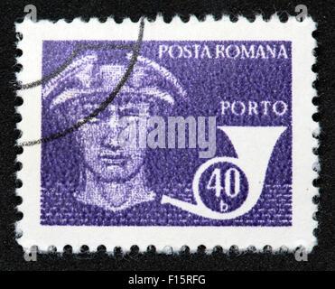 Posta Romana Porto 40b blue stamp - Stock Photo