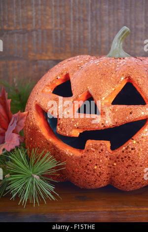 Happy Halloween Table With Jack O Lantern Pumpkin On Rustic Dark Wood Vintage Background