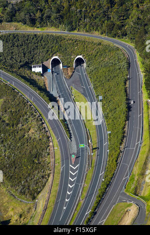 State Highway One at Johnstone's Hill Tunnels, North Auckland, North Island, New Zealand - aerial - Stock Photo