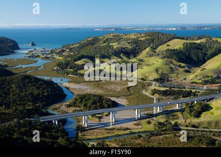 Waiwera Viaduct and Waiwera River, North Auckland, North Island, New Zealand - aerial - Stock Photo