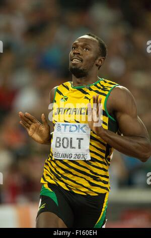 Beijing, China. 27th Aug, 2015. Usain Bolt (JAM) Athletics : 15th IAAF World Championships in Athletics Men's 200m - Stock Photo