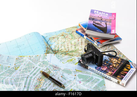 Planning a touring holiday around Europe.Vacation planning. - Stock Photo