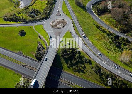 Northern Motorway interchange at Silverdale, North Auckland, North Island, New Zealand - aerial - Stock Photo