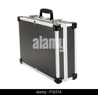 armored black case for money, on white background; isolated - Stock Photo