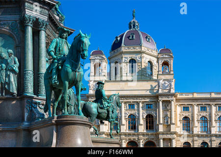 Austria, Vienna, view of Natural History Museum, Maria Theresa monument and Garden - Stock Photo