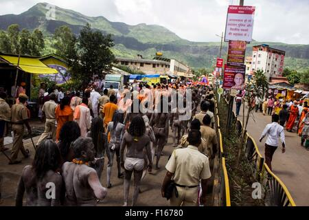 Maharashtra, India. 27th Aug, 2015. Thousands of Naga sadhus, revered for their austerity and feared for their rage, - Stock Photo