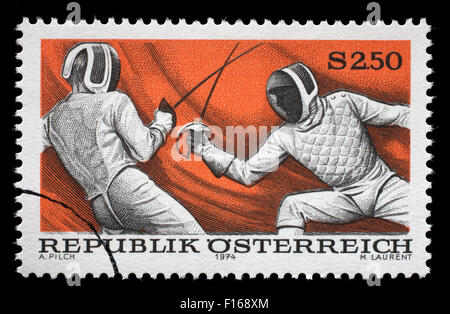 Stamp printed in Austria shows fencing, circa 1974 - Stock Photo
