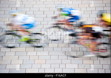 road bicycle racing, motion blur effect - Stock Photo