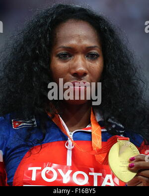 Beijing, China. 27th Aug, 2015. Gold medalist, Cuba's Yarisley Silva during an awards ceremony for the women's pole - Stock Photo