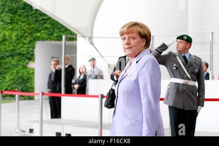 Berlin, Germany. 28th August, 2015. German Chancellor Angela Merkel welcomes Lars Løkke Rasmussen, Prime Minister - Stock Photo