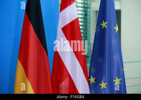 Berlin, Germany. 28th August, 2015. German Chancellor Angela Merkel and Lars Løkke Rasmussen, Prime Minister of - Stock Photo