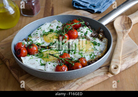Minced lamb meat with eggs - Stock Photo