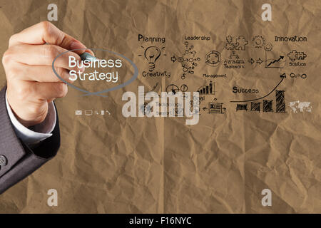 hand draws  business strategy on crumpled recycle paper background as concept - Stock Photo