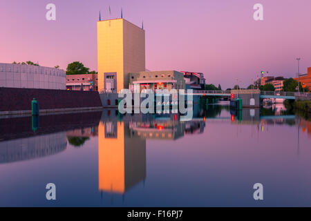 Groninger Museum at the blue hour in Groningen, the Netherlands - Stock Photo