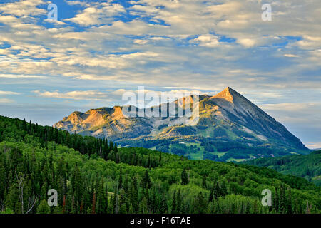 Gunnison National Forest and Mt. Crested Butte (12,162 ft.), near Crested Butte, Colorado USA - Stock Photo