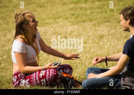 Leeds, UK. 28th August, 2015. Festival goers at Leeds Festival, Leeds, UK. 28th August 2015 - Stock Photo