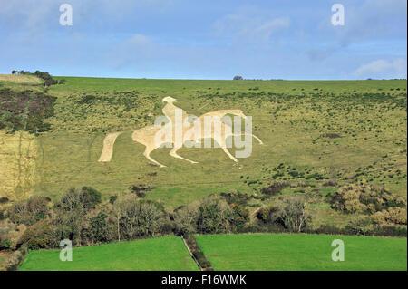 Osmington White Horse, hill figure of George III on horseback sculpted into the limestone Osmington hill, Dorset, - Stock Photo