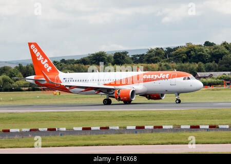 EasyJet Airbus A320-214 landed at Manchester Airport (UK) - Stock Photo