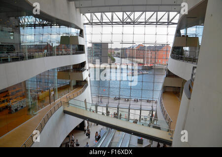 Central foyer in the Royal Library in the Black Diamond, Den Sorte Diamant, in Copenhagen. Interior and view of - Stock Photo