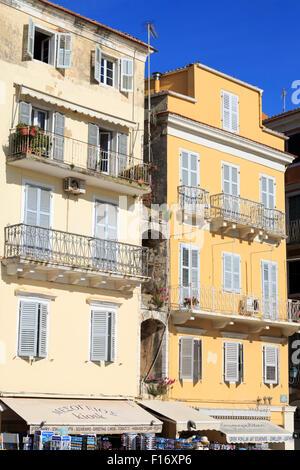 Buildings on the Spianada, Corfu Town, Corfu Island, Greece, Europe - Stock Photo