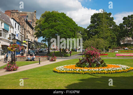 Public gardens in summer Montpellier Parade Harrogate North Yorkshire England UK United Kingdom GB Great Britain - Stock Photo