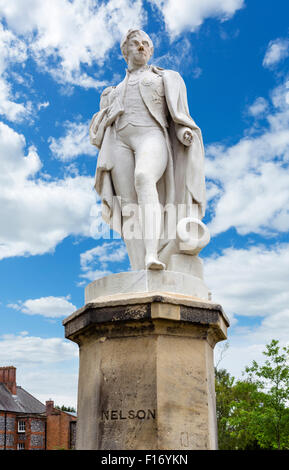 Statue of Admiral Lord Nelson in Cathedral Close, Norwich, Norfolk, England, UK - Stock Photo