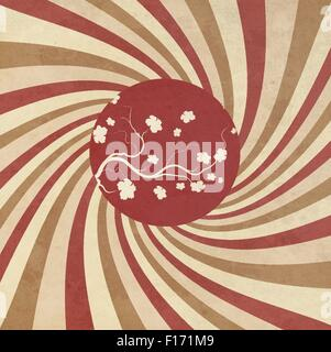 Grunge Striped Japanese Background - Stock Photo