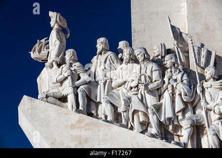 Detail of Monument to the Discoveries along the Tagus river in the Belem section of Lisbon, Portugal. - Stock Photo