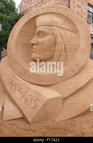 Leicester, England, 28 August 2015.This sand sulpture created by Radek Zivny (Czech Republic) of Richard 111 is - Stock Photo