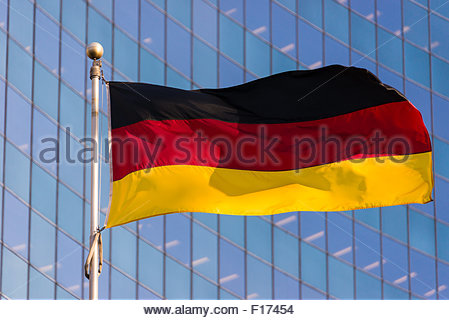 National flag of Germany. It is a tricolor consisting of three equal horizontal bands displaying the national colors - Stock Photo