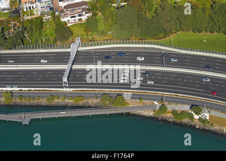Northern Motorway, St Marys Bay, Auckland, North Island, New Zealand - aerial - Stock Photo