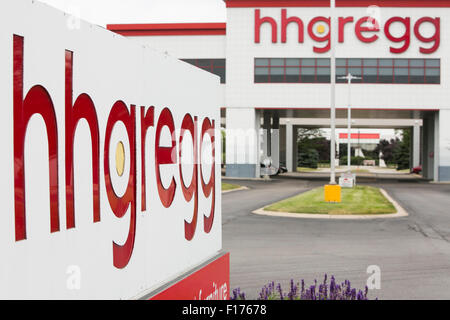 A logo sign outside of the headquarters of hhgregg, Inc., in Indianapolis, Indiana on August 15, 2015. - Stock Photo