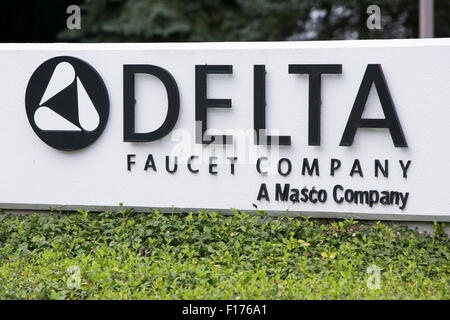 A logo sign outside of the headquarters of the Masco Corporation in ...