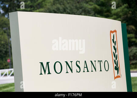 A logo sign outside of the headquarters of the Monsanto Company, in St. Louis, Missouri on August 16, 2015. - Stock Photo