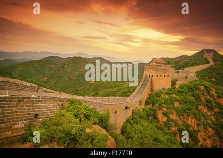 Great Wall of China at Sunrise - Stock Photo