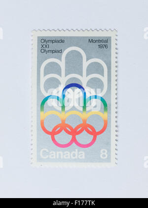 A Canadian 8-cent postage stamp commemorating the 1976 Summer Olympic Games in Montreal, Canada. - Stock Photo