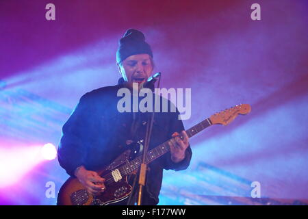 Leeds, Yorkshire, UK. 28th August 2015. Moose Blood perform live on The Lock Up Stage at Leeds Festival Credit: - Stock Photo