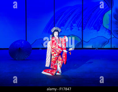 Traditional Japanese Kabuki performance in front of the Bellagio hotel and casino fountains in Las Vegas - Stock Photo