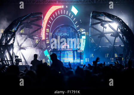 Leeds, UK. 28th August 2015. Deadmou5 headline's the NME stage at  Leeds Festival, Bramham Park 28/08/2015  Credit: - Stock Photo