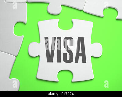 Visa - Jigsaw Puzzle with Missing Pieces. Bright Green Background. Close-up. 3d Illustration. - Stock Photo