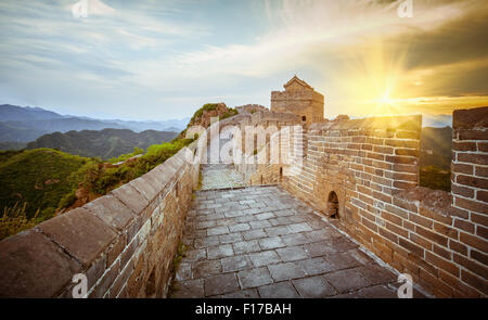 Great Wall of China at Sunrise - Stock Photo