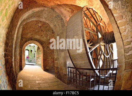 France, Normandy: Transport wheel in the Abbey of Le Mont St. Michel