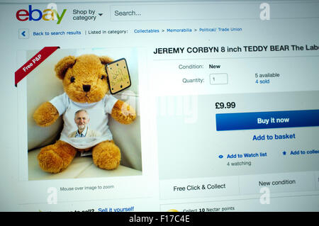 London, UK. 29th Aug, 2015. memorabilia including teddy bears, smart phones signed autographs featuring Labour party - Stock Photo